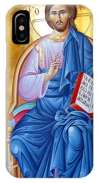Orthodox Icon Of Jesus In Blue IPhone Case