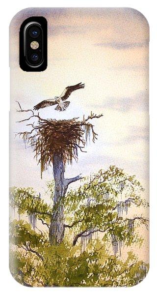 Wakulla iPhone Case - Osprey Approaching Nest by Bill Holkham
