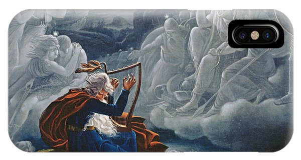 Celtics iPhone Case - Ossian Conjures Up The Spirits On The Banks Of The River Lorca by Karoly Kisfaludy