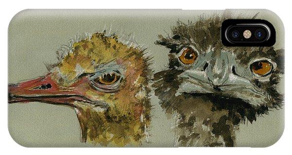 Ostrich iPhone Case - Ostrichs Head Study by Juan  Bosco