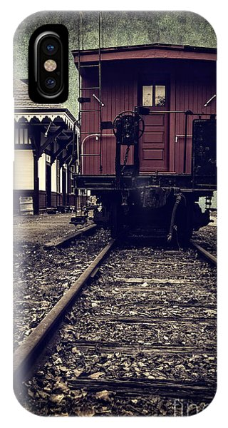Red Caboose iPhone Case - Other Side Of The Tracks by Edward Fielding