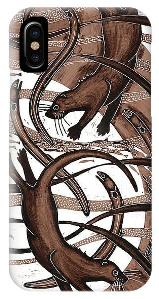 Otter With Eel, 2013 Woodcut IPhone Case