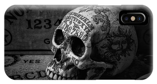 Novelty iPhone Case - Ouija Boards And Skull by Garry Gay