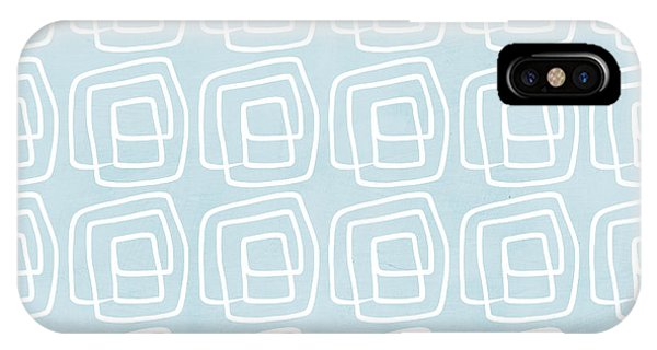 Blue And White iPhone Case - Out Of The Box Blue And White Pattern by Linda Woods