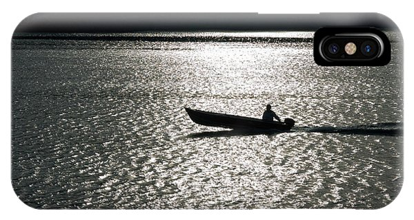 Powerboat iPhone Case - Outboard Motor Boat Crossing Reflection Of Sun by Peter Noyce
