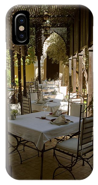 Oranger iPhone Case - Outdoor Dining Area, Villa Des Orangers by Panoramic Images