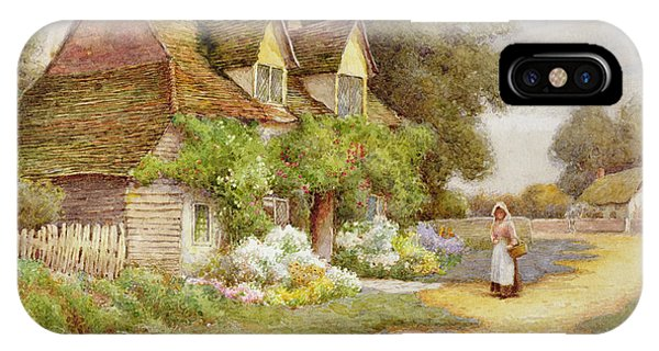 English Village iPhone Case - Outside The Cottage  by Ethel Hughes