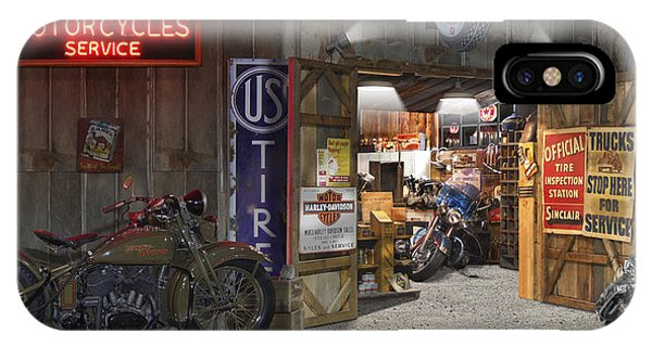 Harley iPhone Case - Outside The Motorcycle Shop by Mike McGlothlen