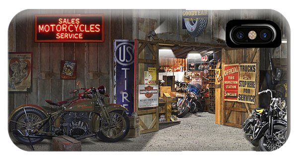 Outside The Motorcycle Shop IPhone Case