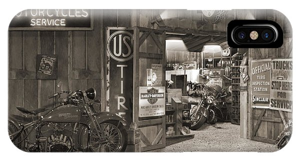Harley iPhone Case - Outside The Old Motorcycle Shop - Spia by Mike McGlothlen