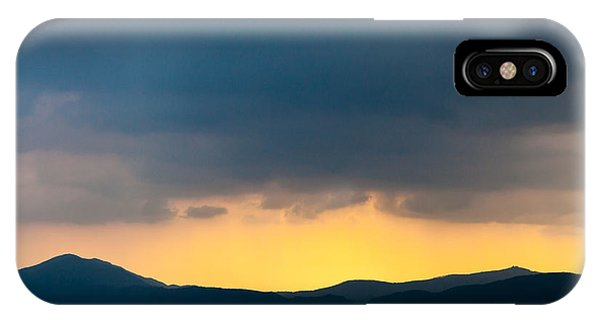 Overcast Dark Sky Rain Clouds With Yellow Glow Beyond Hills On H IPhone Case