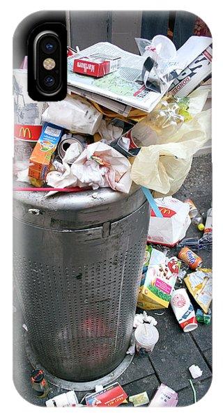 Rubbish Bin iPhone Case - Overflowing Litter Bin by Chris Martin-bahr/science Photo Library