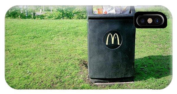 Rubbish Bin iPhone Case - Overflowing Litter Bin by Robert Brook/science Photo Library