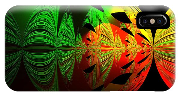 Art. Unigue Design.  Abstract Green Red And Black IPhone Case
