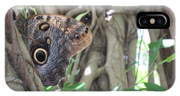 Owl Butterfly In Hiding IPhone Case