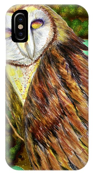 Owl Mixed Media IPhone Case