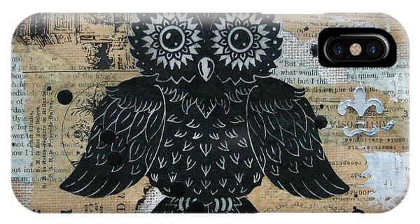 Owl On Burlap2 IPhone Case