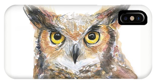 Horn iPhone Case - Owl Watercolor Portrait Great Horned by Olga Shvartsur