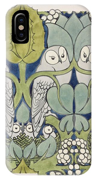 Textile Design iPhone Case - Owls, 1913 by Charles Francis Annesley Voysey