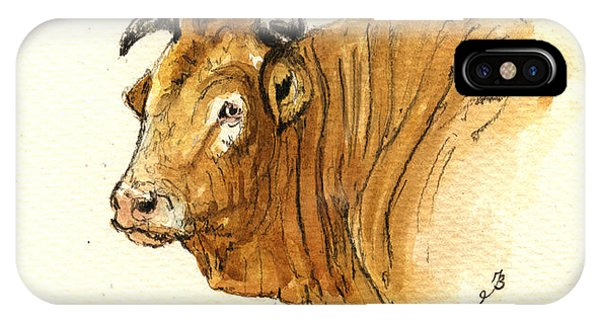 Bull iPhone Case - Ox Head Painting Study by Juan  Bosco