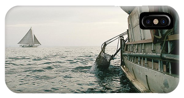 Skipjack iPhone Case - Oyster Dredging by James L. Amos