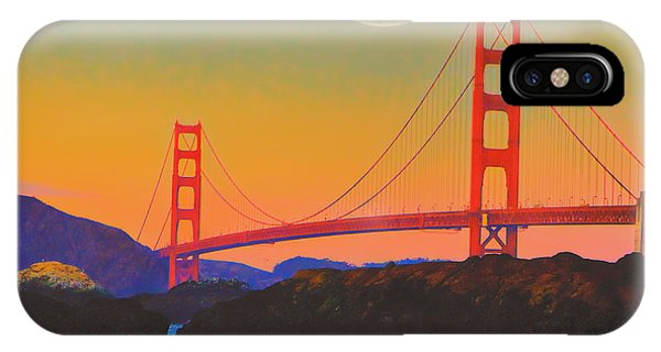 Pacific Sunset - Golden Gate Bridge And Moonrise IPhone Case