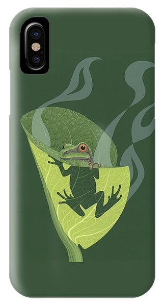 Frogs iPhone Case - Pacific Tree Frog In Skunk Cabbage by Nathan Marcy