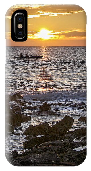 Paddlers At Sunset Portrait IPhone Case