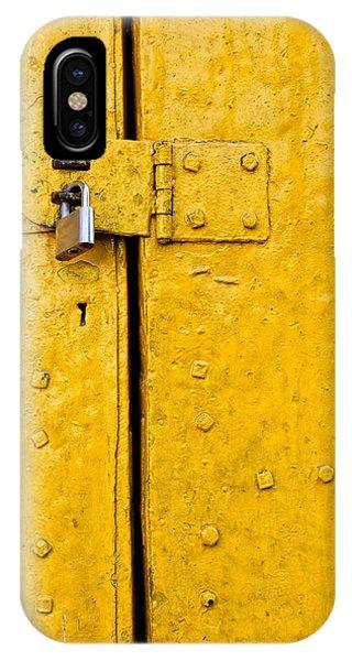 Padlock On An Old Yellow Door IPhone Case