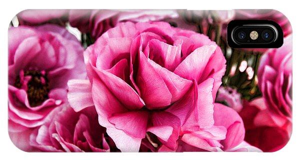 Paint Me Pink Ranunculus Flowers By Diana Sainz IPhone Case