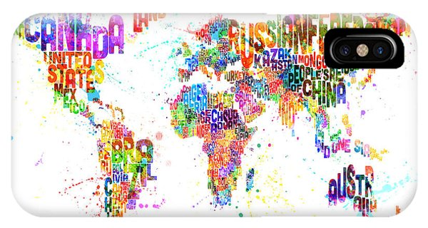 Paint Splashes Text Map Of The World IPhone Case