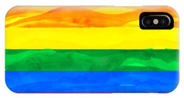 Gay Pride Flag iPhone Case - Painted Flag Of Pride by Aleksandar Mijatovic