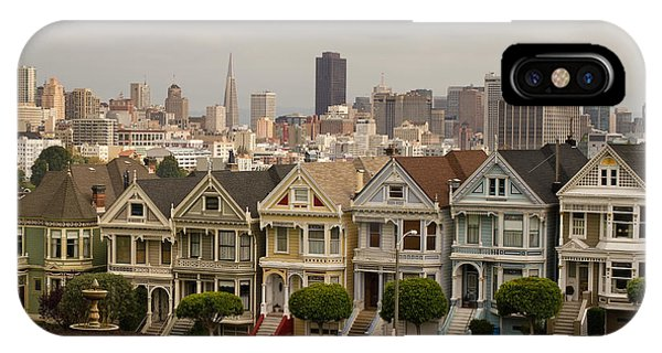 Painted Ladies Row Houses And San Francisco Skyline IPhone Case