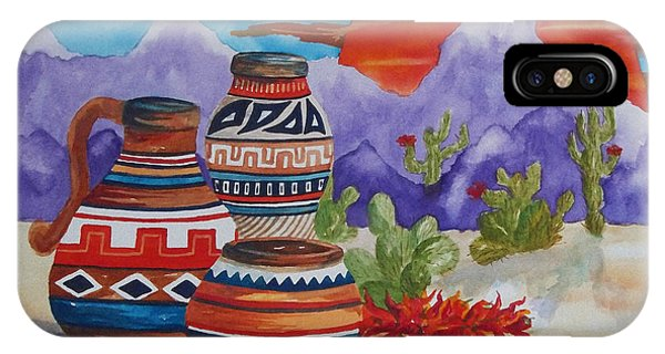 Painted Pots And Chili Peppers IPhone Case