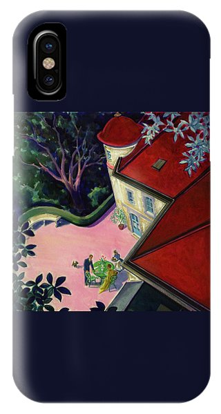 Painting Of A House With A Patio IPhone Case