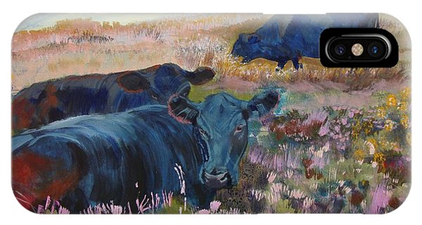Painting Of Three Black Cows In Landscape Without Sky IPhone Case