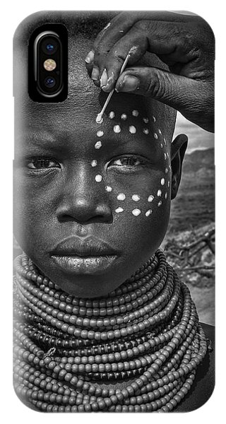 Necklace iPhone Case - Painting The Face Of A Karo Tribe Girl (omo Valley-ethiopia) by Joxe Inazio Kuesta