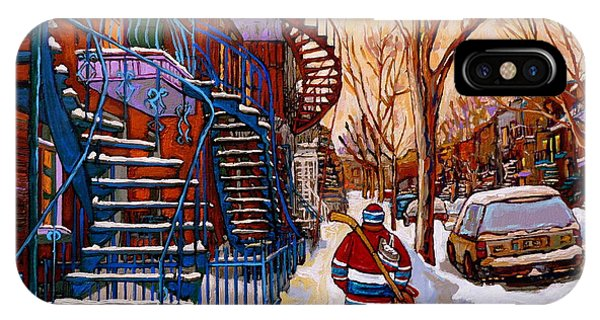 Paintings Of Montreal Beautiful Staircases In Winter Walking Home After The Game By Carole Spandau IPhone Case