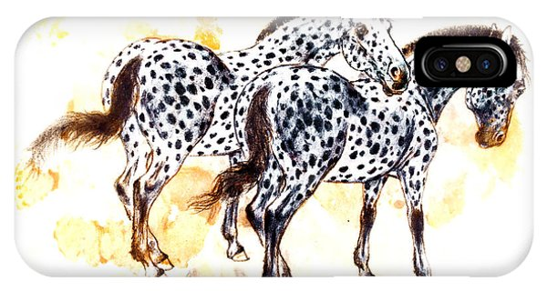 Pair Of Appaloosa Horses With Leopard Complex Phone Case by Kurt Tessmann