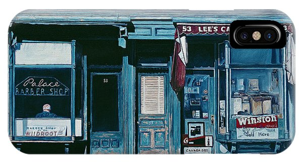 Neighborhood iPhone Case - Palace Barber Shop And Lees Candy Store by Anthony Butera