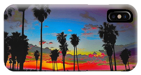 IPhone Case featuring the digital art Palm Sunset by Visual Artist Frank Bonilla