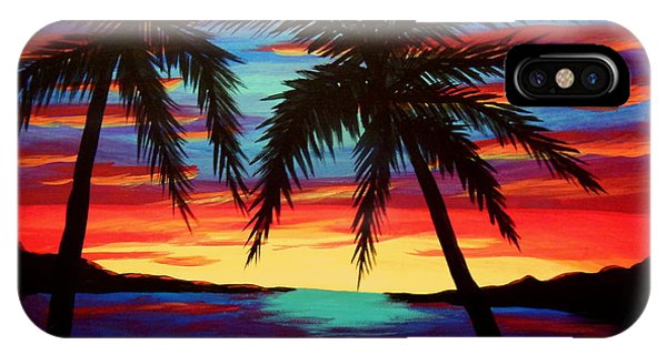 Palm Tree Sunset Phone Case by Virginia Forbes