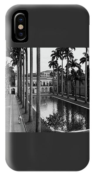 Palm Trees Bordering A Pool IPhone Case