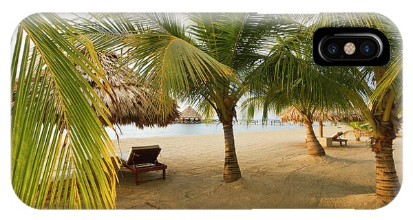 Belize iPhone Case - Palm Trees On Sandy Beach, Placencia by William Sutton