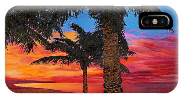 Palm Tree iPhone X Case - Palme Al Tramonto by Guido Borelli