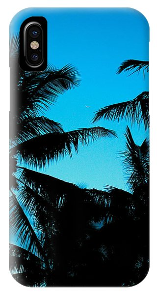 Palms At Dusk With Sliver Of Moon IPhone Case