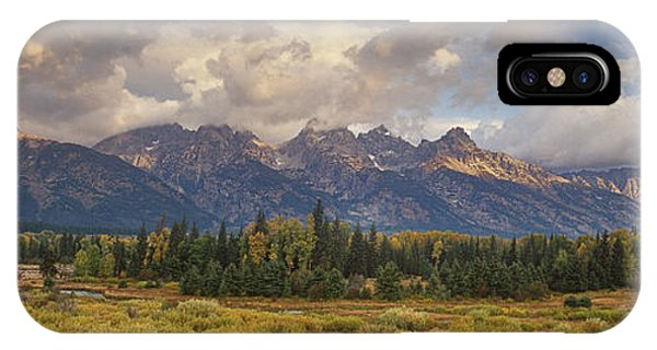 Panaroma Clearing Storm On A Fall Morning In Grand Tetons National Park IPhone Case