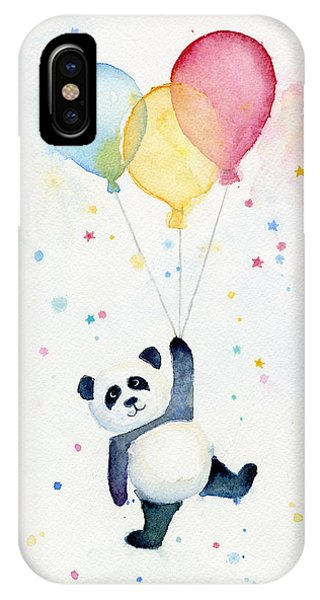 Flying iPhone Case - Panda Floating With Balloons by Olga Shvartsur
