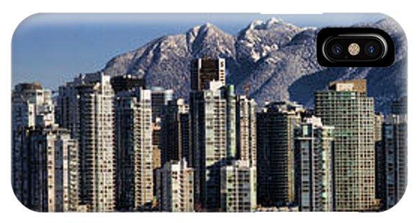 Pano Vancouver Snowy Skyline IPhone Case
