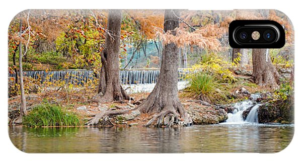 Bald Cypress iPhone Case - Panorama Of Guadalupe River In Hunt Texas Hill Country by Silvio Ligutti